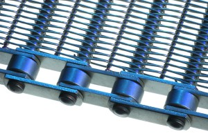Photo featuring Twentebelt spiral wirelink conveyor belts side finish fitted with chain